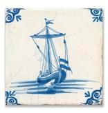 Carte postale, tuile bleue de Delft Voilier