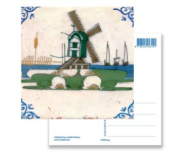 Postcard, Delft Blue Polychrome Tile with Windmill