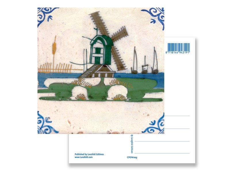 Postal, molino de azulejos policromos azules de Delft