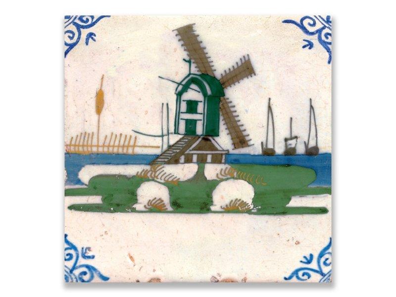 Ansichtkaart, Delfts Blauw Polychroom tegel Molen