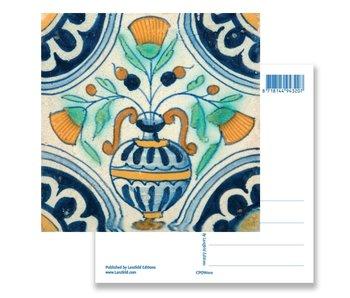 Postkarte, Delfter blaue Fliese Blumenvase, ca. 1650