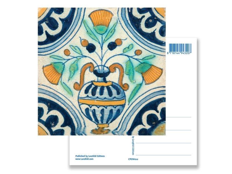 Postal, florero de azulejos azules de Delft, ca 1650