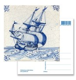 Postkarte, Delfter blaue Fliese Ostindien Schiff