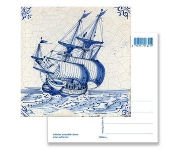 Carte postale, tuile bleue de Delft, navire des Indes orientales