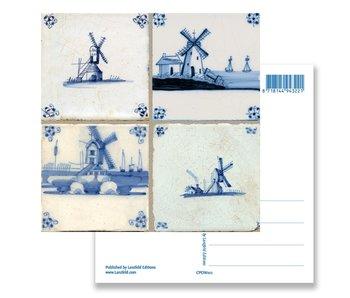 Postal, molinos de tableau de azulejos azules de Delft