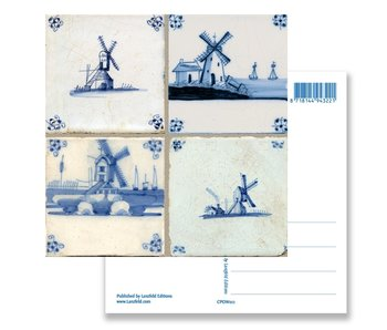 Postcard, Delft Blue Tiles Tableau Windmills