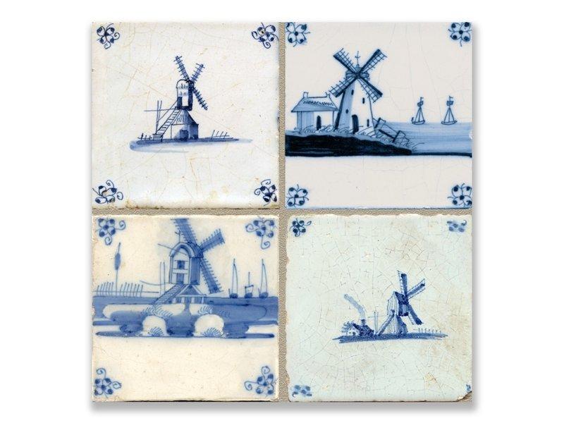 Ansichtkaart, Delfts blauwe tegels Tableau molens