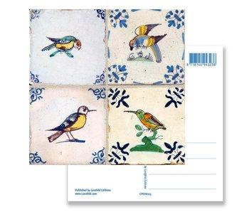 Postal, azulejos azules de Delft Tableau birds