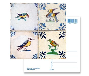 Postcard, Delft Blue Tiles Tableau Birds