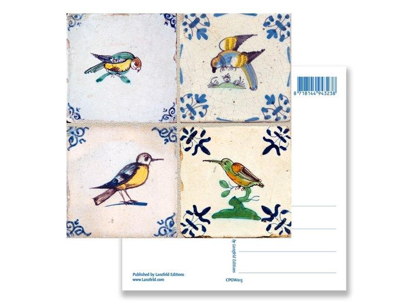 Postkarte, Delfter blaue Fliesen Tableau Vögel