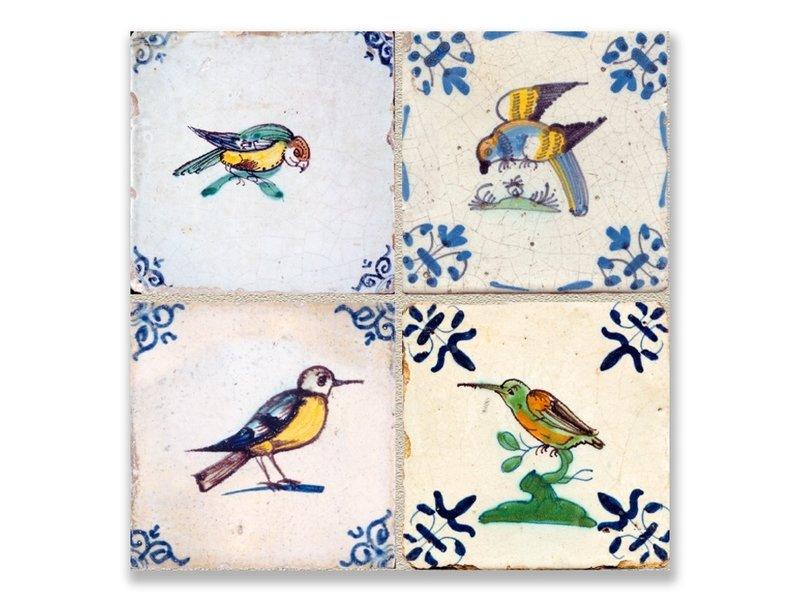Carte postale, tuiles bleues de Delft Tableau oiseaux