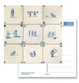 Postkarte, Delft Blue Tiles Tableau Kinderspiele