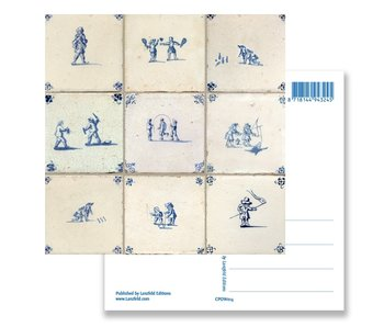 Postcard, Delft Blue Tiles Tableau Children's Games