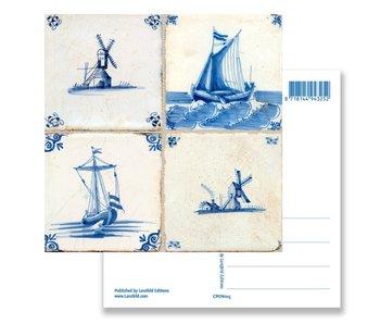 Carte postale, carreaux bleus de Delft Tableau: moulins et navires