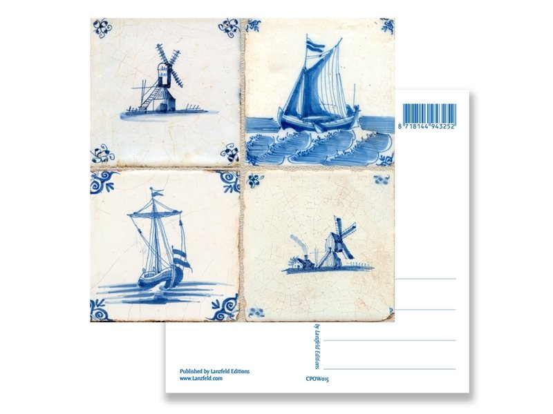 Postkarte, Delfter Blauer Fliesen Tableau Mills, Schiffe