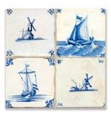 Ansichtkaart, Delfts blauwe tegels Tableau molens,schepen