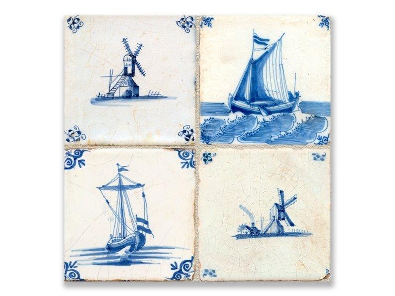 Postkarte, Delfter blaue Fliesen Tableau: Mühlen und Schiffe