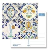 Postkarte, Delfter blaue Fliesen Tableau Blumen