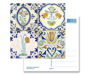 Carte postale, tuiles bleues de Delft Tableau fleurs