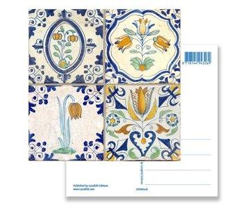 Postal, azulejos azules de Delft Flores de cuadro