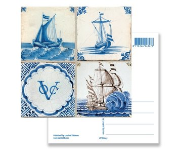 Postcard, Delft Blue Tiles Tableau Ships