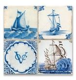 Ansichtkaart, Delfts blauwe tegels Tableau schepen