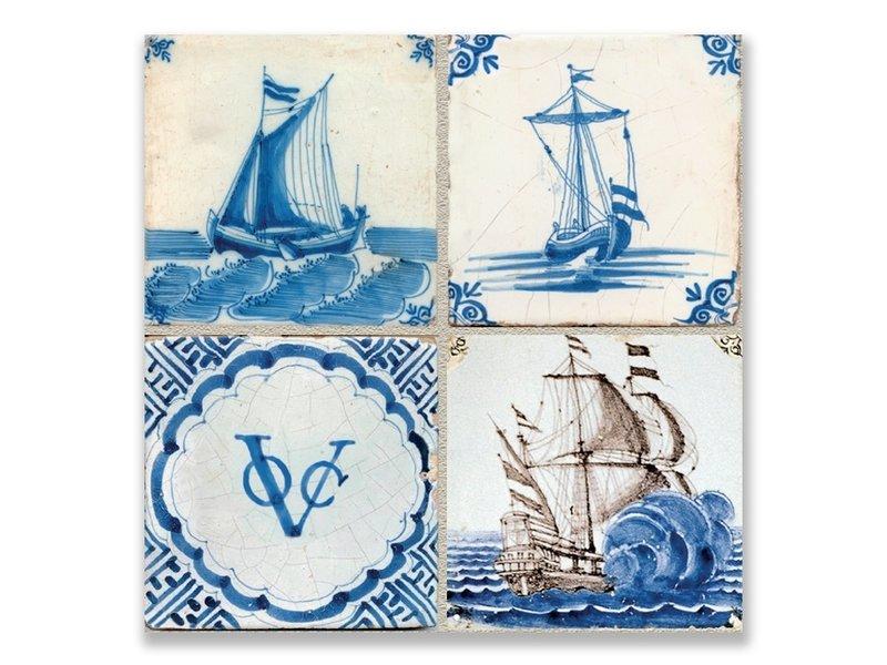Postkarte, Delft Blue Tiles Tableau Schiffe