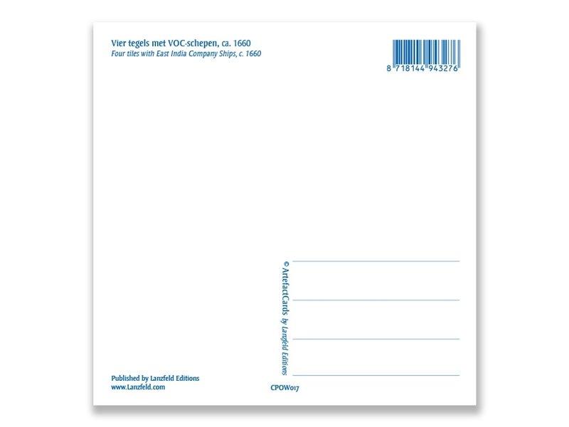 Carte postale, tableau de tuiles bleues de Delft, navires