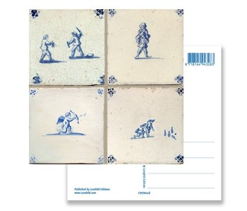 Postcard, Delft Blue Tile Tableau Children's Games