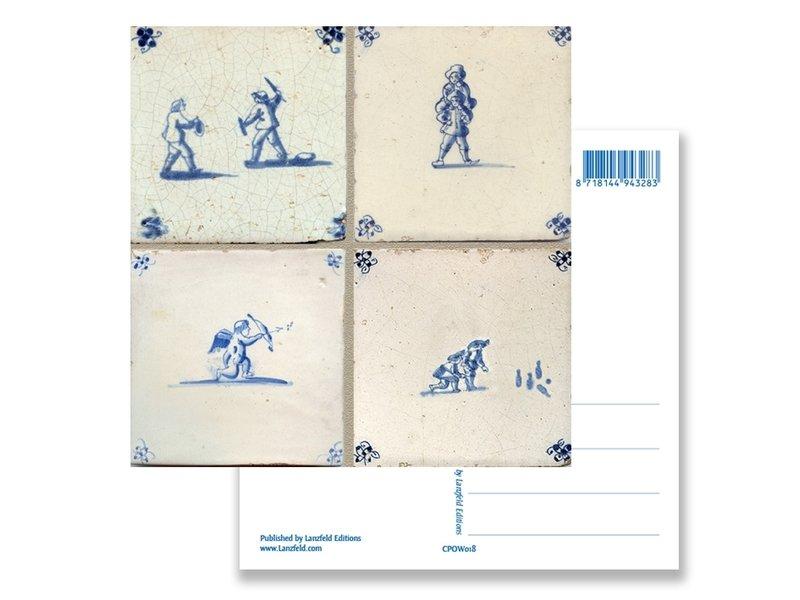 Postal, Azulejos azules de Delft Tableau Juegos infantiles