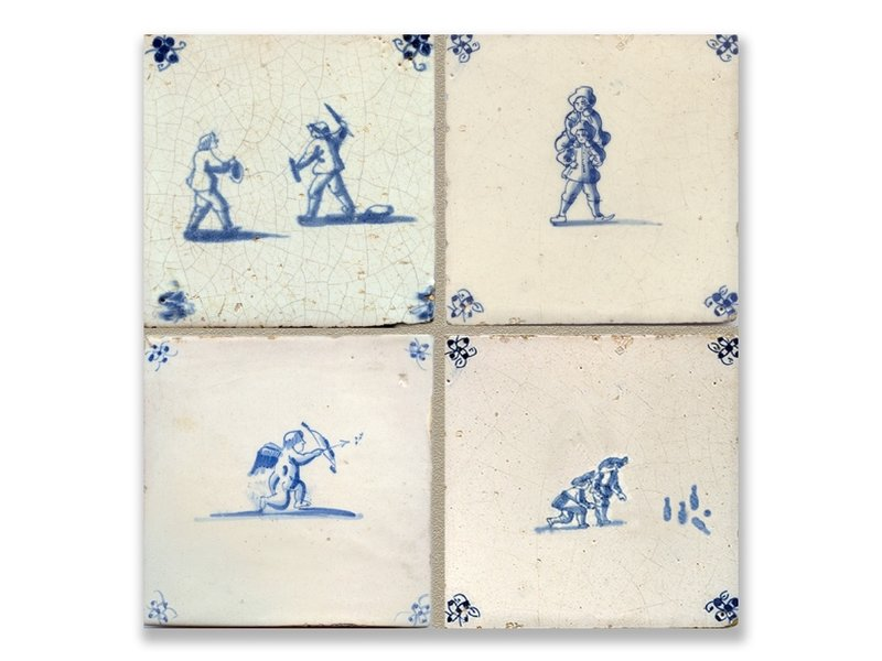 Postkarte, Delft Blue Tiles Tableau Kinderspieles Tableau