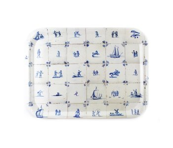 Serving  tray Laminate   large, Delft blue tiles
