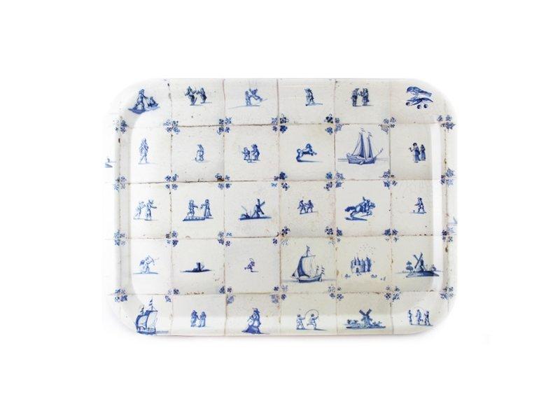 Bandeja laminada grande, azulejos azules de Delft