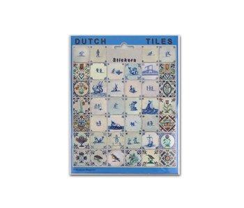 Feuille d'autocollants, tuiles bleues de Delft