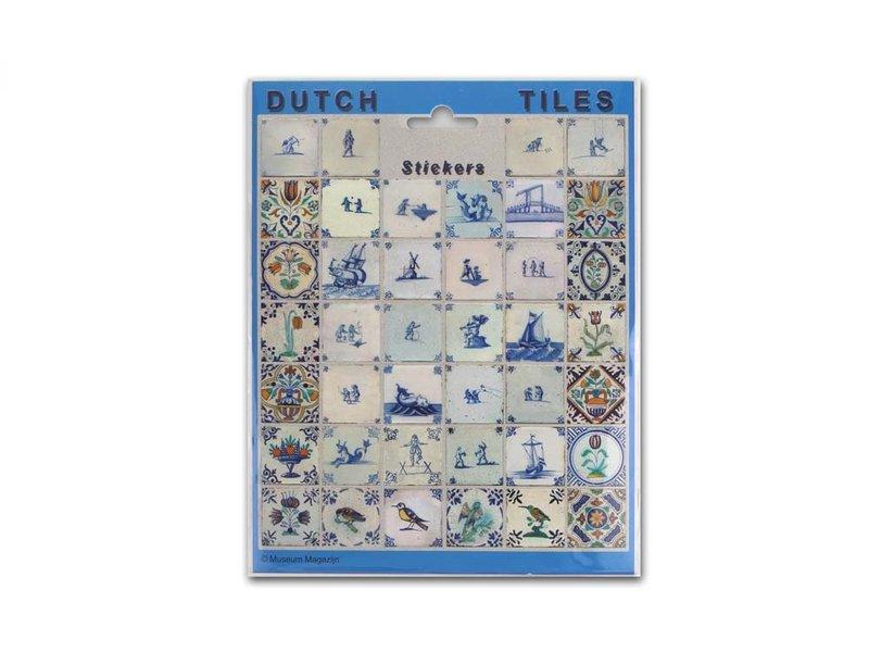 Hoja de adhesivos, azulejos azules de Delft