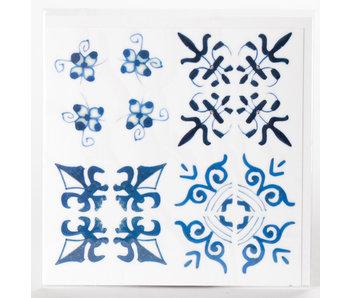 Autocollant de carreaux, motifs Faïence de Delft bleu