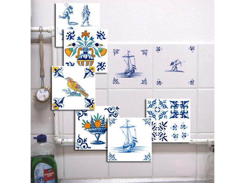 Tegelsticker, Delfts blauwe tegel hoek motieven