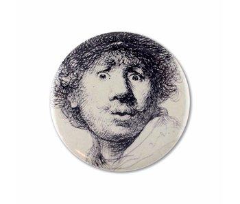 Miroir de poche, Ø 60 mm, Visage curieux, Rembrandt