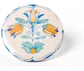 Miroir, petit carreau bleu de Delft, Trois tulipes