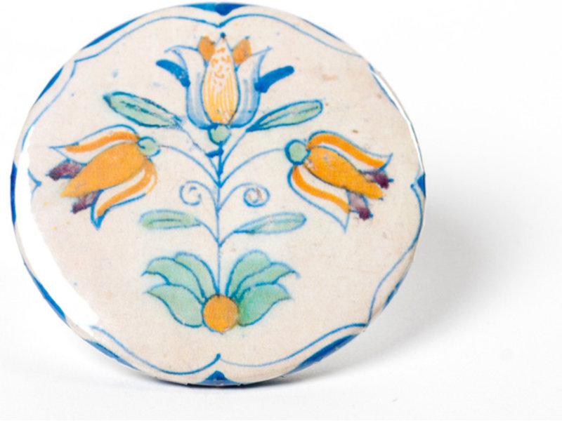 Spiegeltje, klein, Delfts blauwe tegel, Drietulp