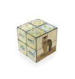 Cube magique,  tuiles bleues de Delft avec chat