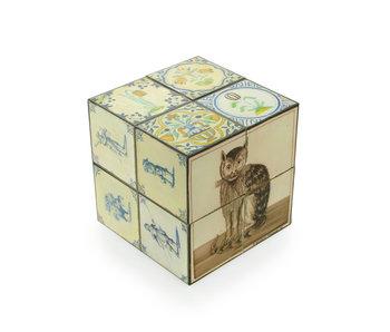 Vouwkubus, Delftse polychrome tegels met kat