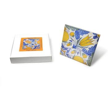 Carrelage réplique, bleu de Delft, tulipe diagonale 13 x 13 cm