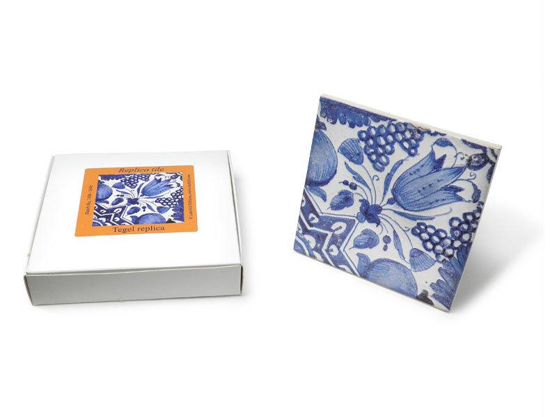 Replica tegel, Delfts Blauw, Diagonale Tulp  13x13 cm