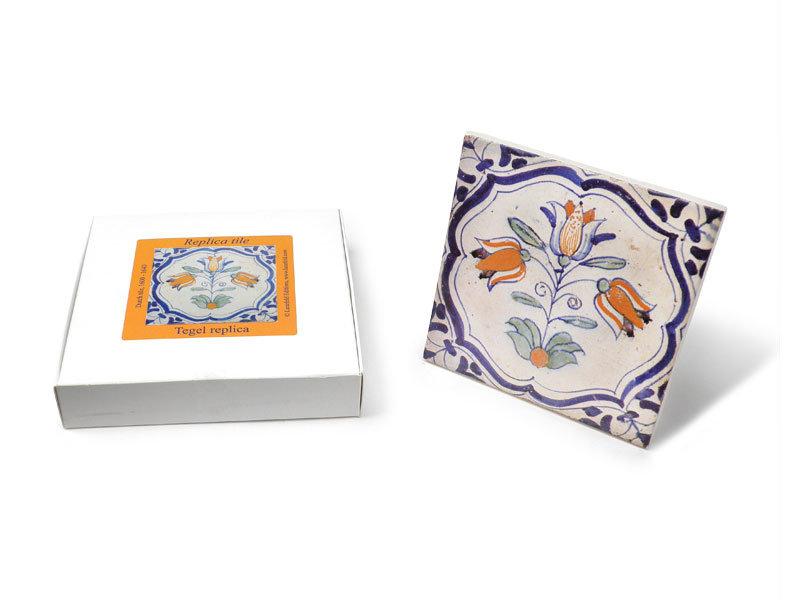 Replikfliese, Delfter Blau, Drei-Tulpen