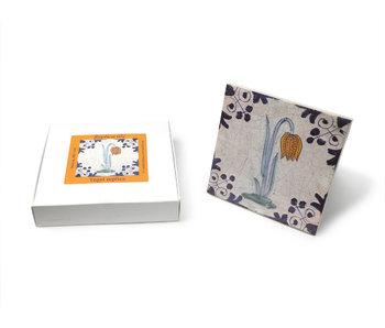 Replica azulejo, Delft azul, flor de avefría 13x13 cm