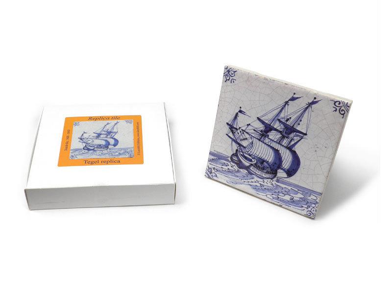Replikfliese, Delfter Blau, Handelsschiff 13x13 cm