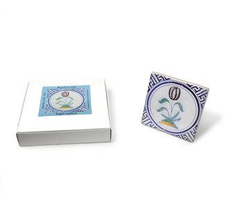 Replikfliese, Delfter Blau, Tulpe im Kreis, 10x10cm
