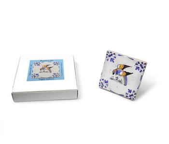 Replica azulejo, Delft azul, loro,  10x10cm