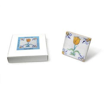 Replica azulejo, Delft azul, tulipán naranja / oro, 10x10cm